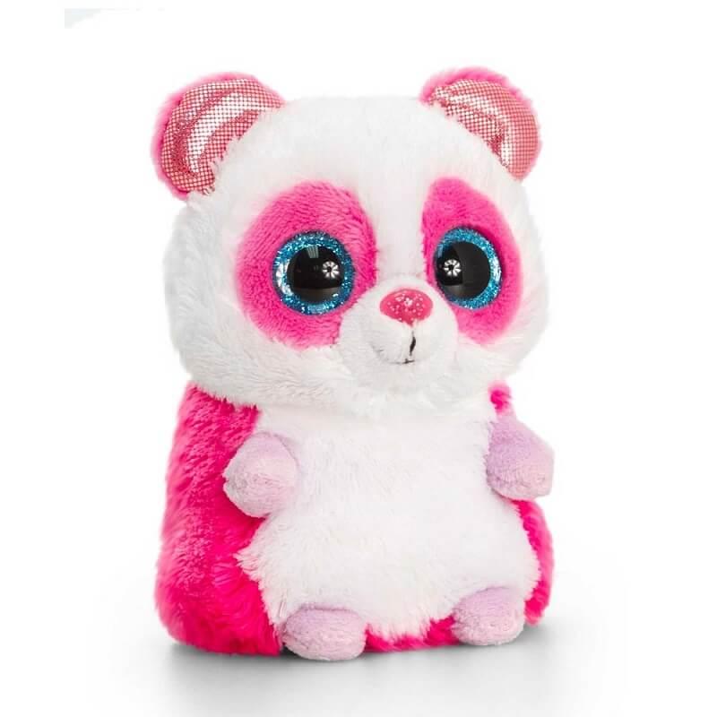 Peluche panda rose aux gros yeux minimotsu keel toys