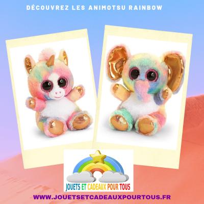 Peluches aux gros yeux animotsu keel toys rainbow
