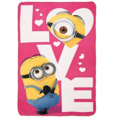 Plaid polaire les minions love rose