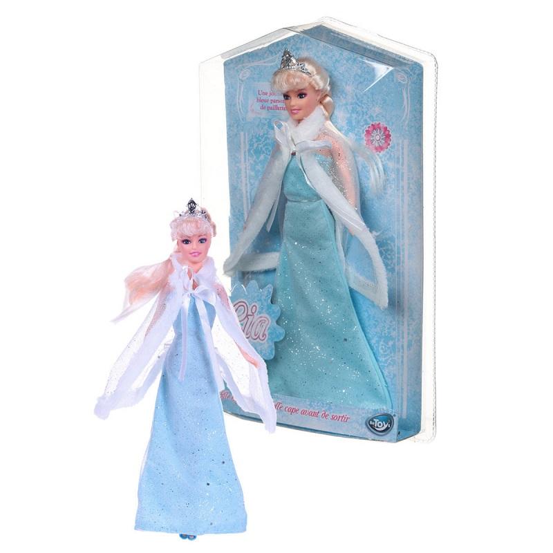 Poupee princesse lia robe bleue paillettes clair