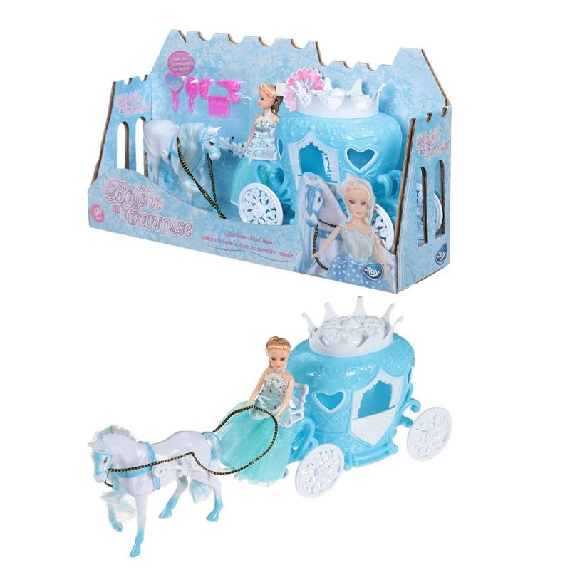 Princesse poupee avec son carrosse son cheval et accesoires cheveux