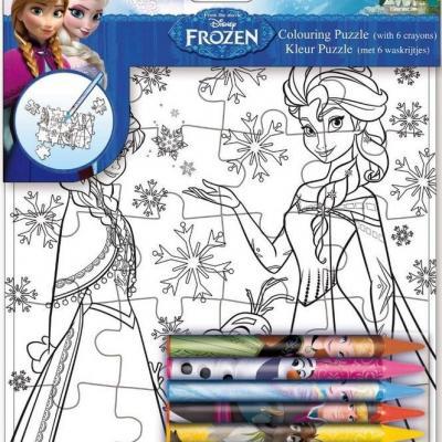 Puzzle La reine des neiges Disney à colorier et 6 crayons