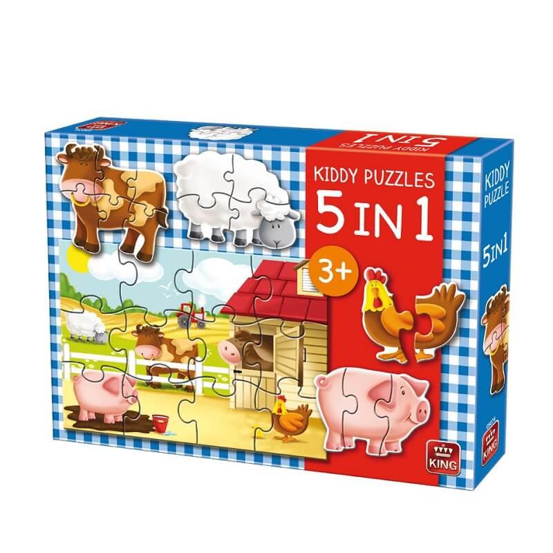 Puzzle animaux de la ferme 5 en 1