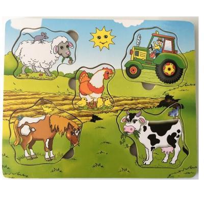Puzzle les animaux de la ferme en bois