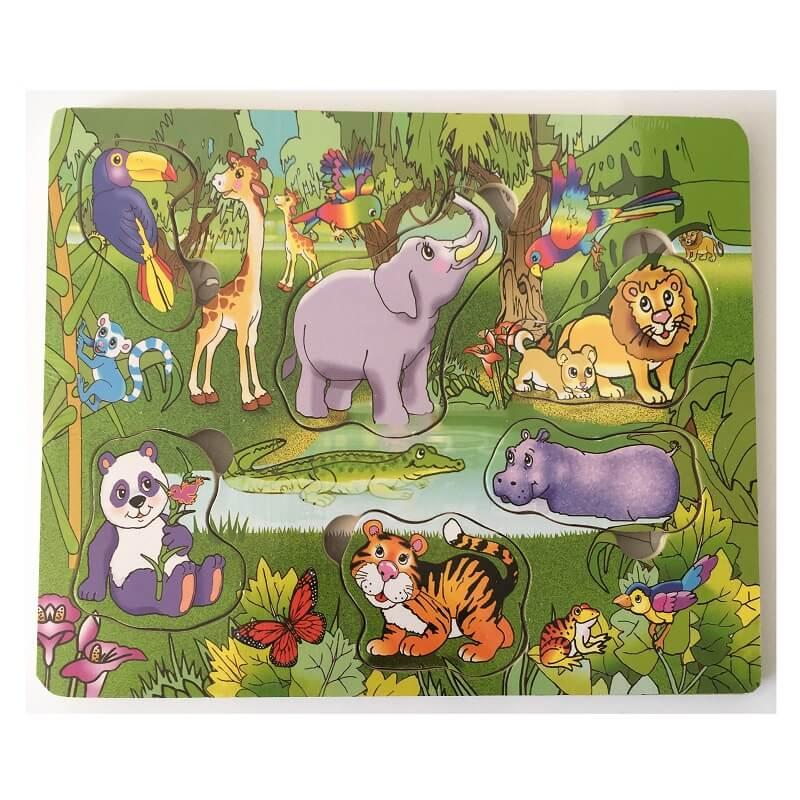 Puzzle animaux de la jungle en bois enfant d s 18 mois - Animaux de la jungle maternelle ...