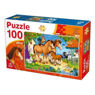 Puzzle chevaux et autres animaux de la ferme de 100 pièces