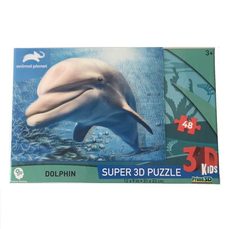 Puzzle dauphin image 3d 48 pieces pour enfant