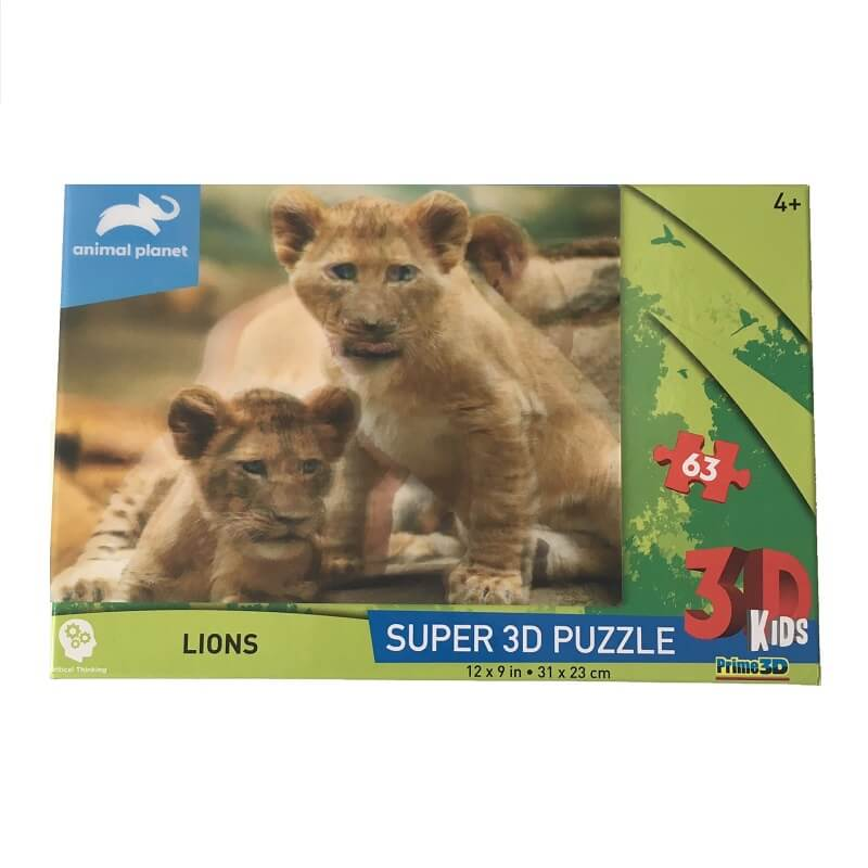 Puzzle lions image 3d 63 pieces pour enfant