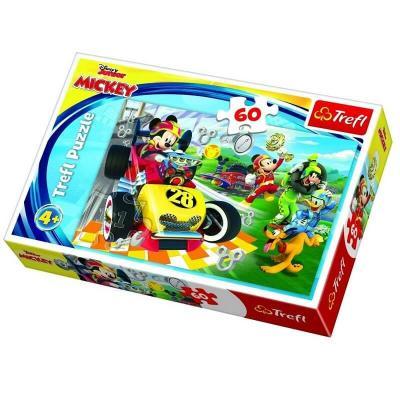 Puzzle Mickey en compétition automobile de 60 pièces