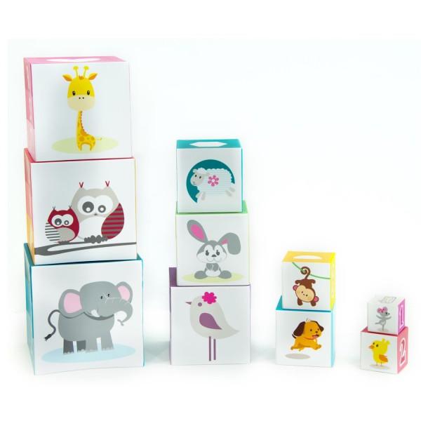 Pyramide 10 cubes pour enfants animaux