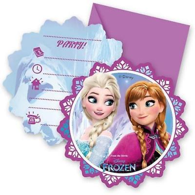 Cartes La reine des neiges d'invitation pour un anniversaire par lot de 6
