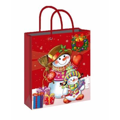 Sac de noël avec un décor de bonhomme de neige en pvc