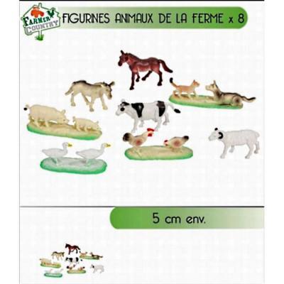 Sachet 8 figurines animaux de la ferme 5 cm