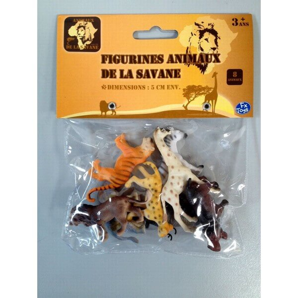 Sachet de 8 mini animaux de la savane