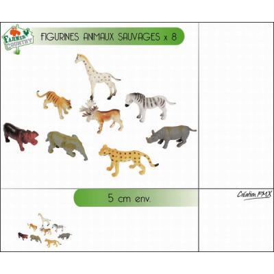 Sachet de 8 mini animaux sauvages 5 cm.