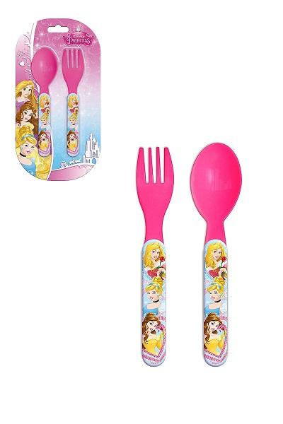Set de 2 couverts en plastique princesses 2
