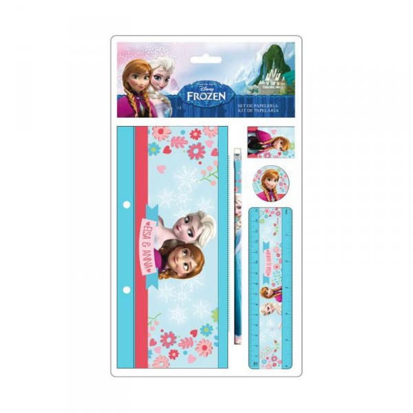 Set papeterie 4 pieces trousse plate la reine des neiges 1