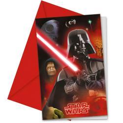 Star Wars 6 cartes d'invitation et les enveloppes