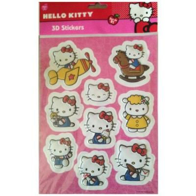 Set de 9 Stickers Hello Kitty en 3D