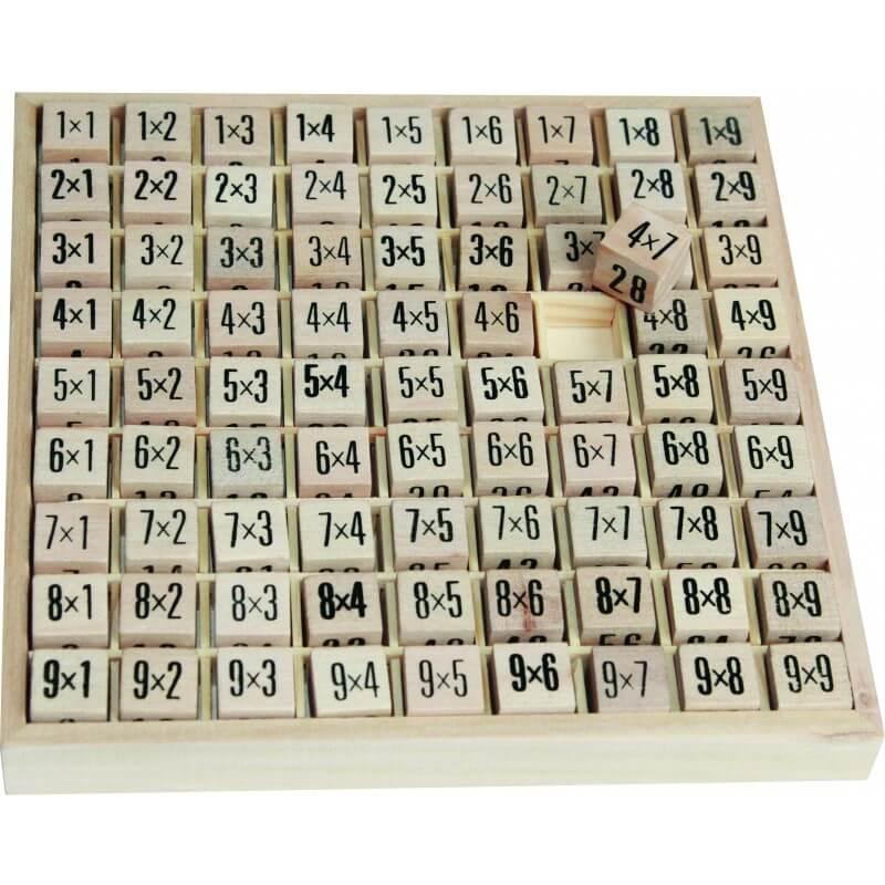 Tables multiplication en bois pour aide a la memorisation