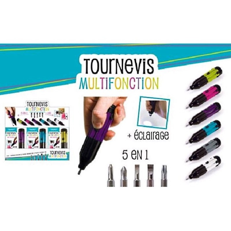 Tournevis multifonction led 5 embouts camping bricolage