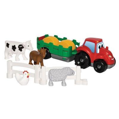 Tracteur avec remorque et animaux abrick ecoiffier