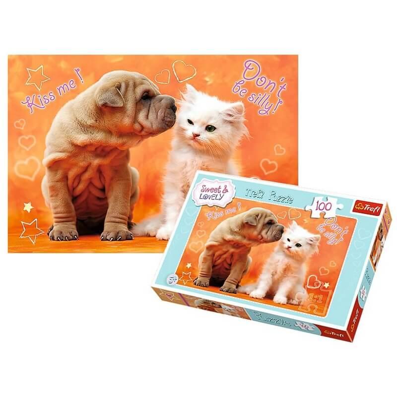 Trefl puzzle chien et chat puzzle enfant 100 pieces