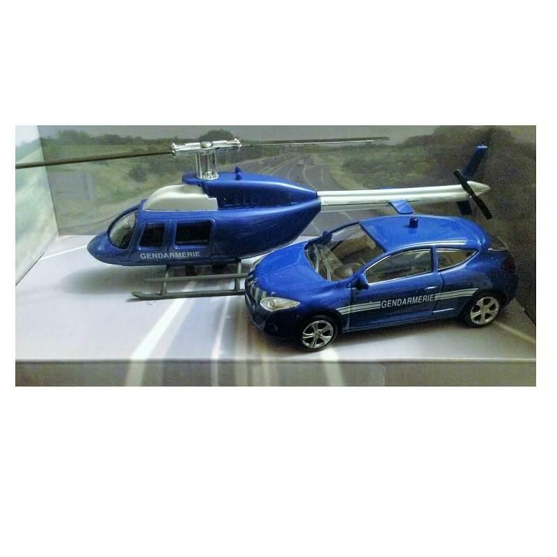 Voiture de gendarmerie et helicoptere de gendarmerie miniature pack mondo motors jpg