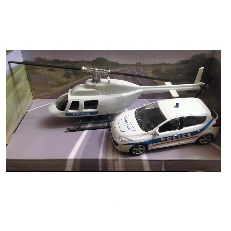 Voiture de police et helicoptere de police miniature pack mondo motors