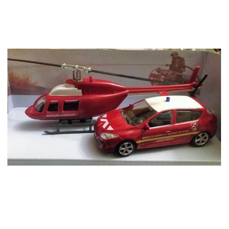 Voiture des pompiers et helicoptere de pompier miniature pack mondo motors
